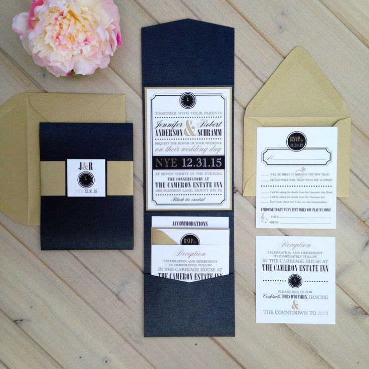 New Years Eve Wedding Invitation, Black And Gold Wedding Invitation, NYE  Wedding Invitation, Black And Gold Pocket Folder Invitation