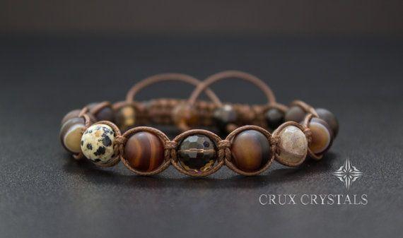 Cinnamon Men's Natural Stone Shamballa Bracelet by CruxCrystals