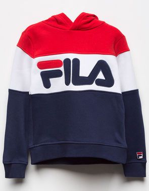 FILA Colorblock Red   Blue Girls Hoodie  1dba0b26a61