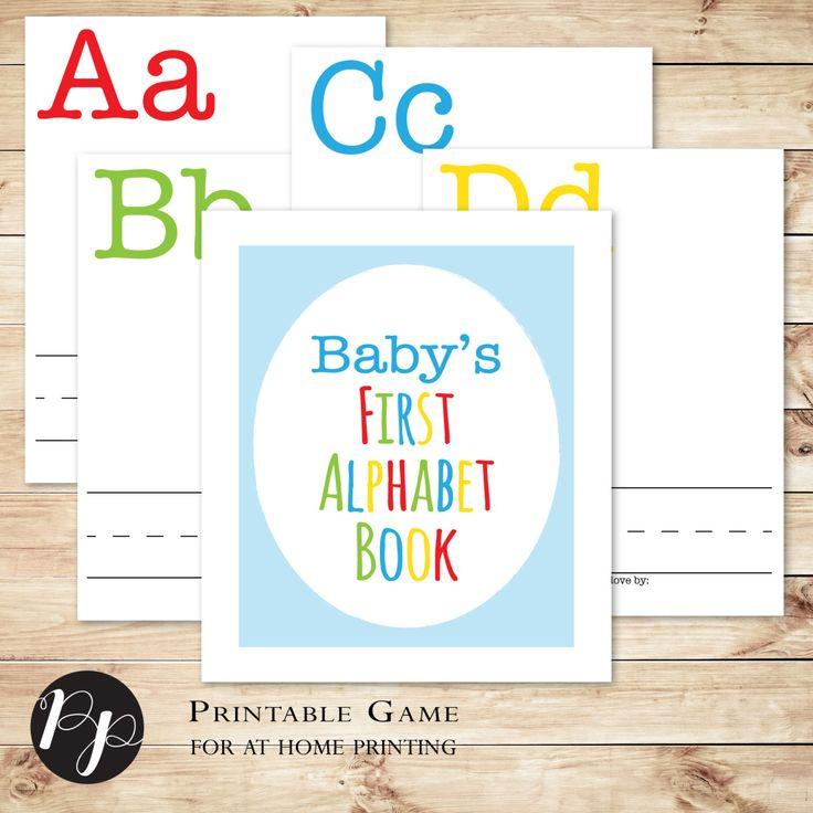 Build a Library Baby Shower Game // Baby's First Alphabet Book // With Cover by PeachpodPaperie on Etsy
