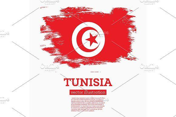 #Tunisia #Flag with #Brush #Strokes.  by Igor Sorokin on @creativemarket