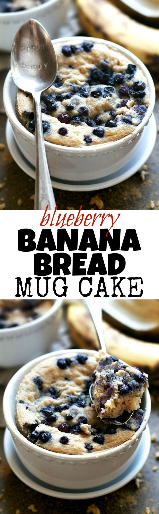 Satisfy your banana bread cravings in less than 5 minutes with this healthy Blueberry Banana Bread Mug Cake! It's made without flour, butter, or oil, but so light and fluffy that you'd never be able to tell! runningwithspoons.com #glutenfree #grainfree