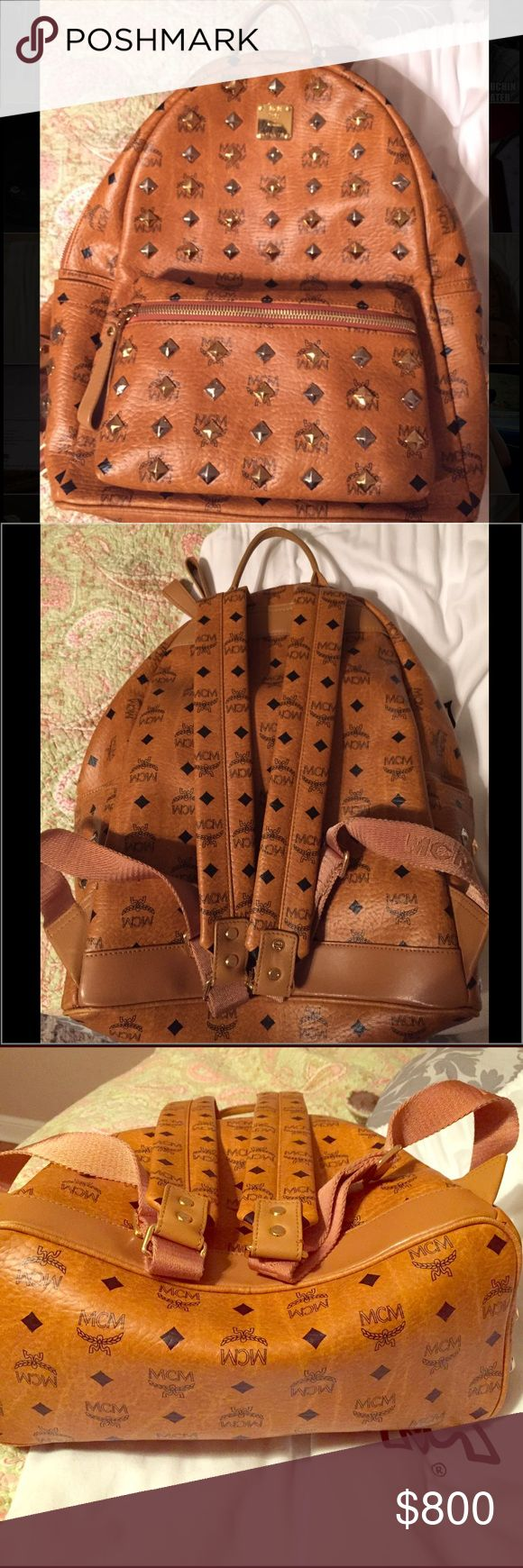 BRAND NEW MCM Studded Stark leather backpack ! Mens MCM studded stark backpack! BRAND NEW with RECEIPT & DUST BAG from SAKS FIFTH AVENUE! This bag displays the Signature cognac leather and monogram mcm print. Sleek yet simple! An everyday bag. Very Famous and Trendy brand. The bag is made with the finest leathers very soft and supple. ONLY ACCEPT POSHMARK & NO LOWBALL OFFERS! I can bend no more than asking price Is FIRM due to 20% poshmark deductible. Happy poshing. :) MCM Bags Backpacks