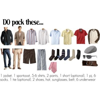 Minimalist packing list for men.  #travel #packing