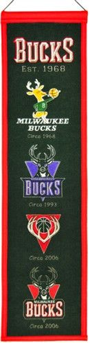 Milwaukee Bucks Winning Streak Heritage Banner - Banner is 8x32 and depicts the evolution of Bucks logos with circa dates - Embroidery and applique detail on wool blend felt