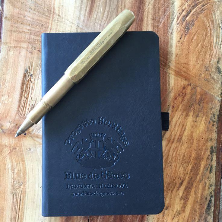Blue de Gënes Notebook with Kaweco Sport Brass pen. #bluedegenes #Kaweco