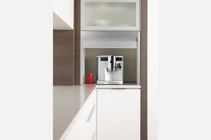 Modern small appliance garage #CustomCabinetry