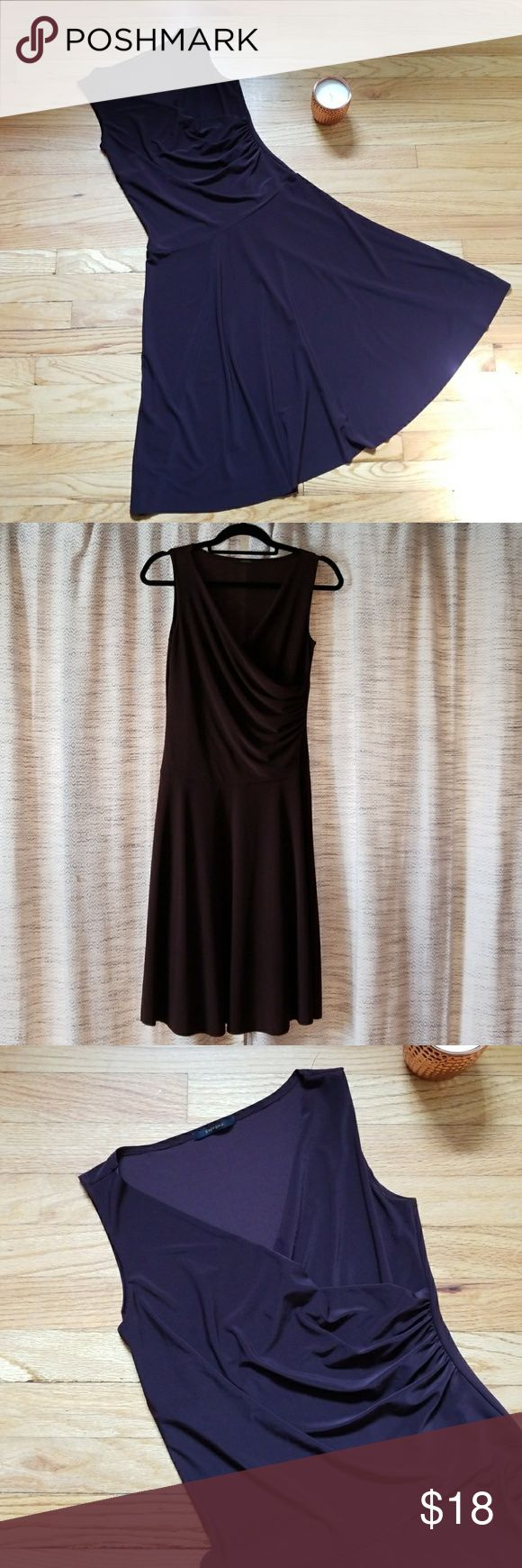 """Soprano Dress Soprano Dress   Sleeveless dress with side ruching and a-line skirt.  92% Polyester  8% Spandex   Measurements  Shoulder to Hem: 41"""" Bust: 17"""" Waist: 14""""  (Measurements are taken with garment laying flat )  Chocolate Brown   Size: Medium Soprano Dresses Midi"""