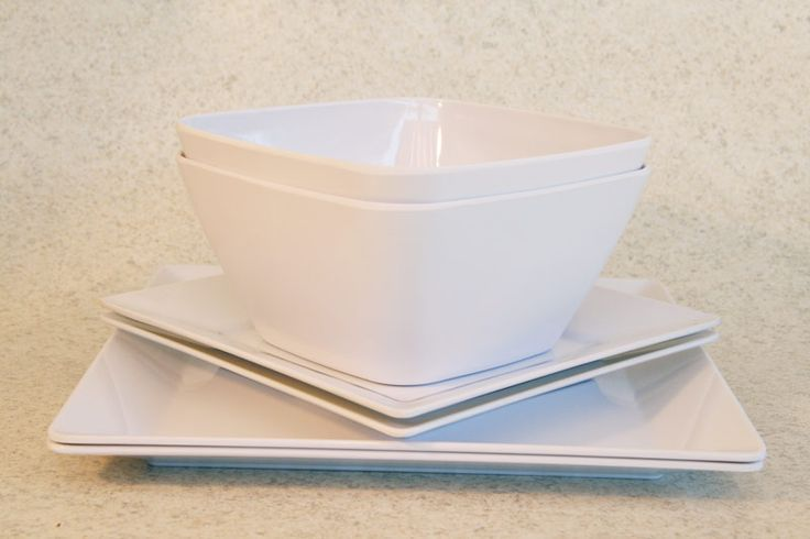 Plastic/Melamine square dining setting for 2 in white, Assistive Style $15