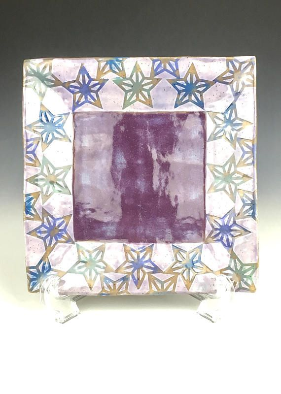 Purple ceramic side plate square pottery plate jewelry dish