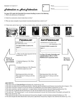 Students complete worksheet including key players in the formation of the new government. Students use Holt US History textbook. Federalism, states rights, states' rights, Madison, Hamilton, Henry, John Jay