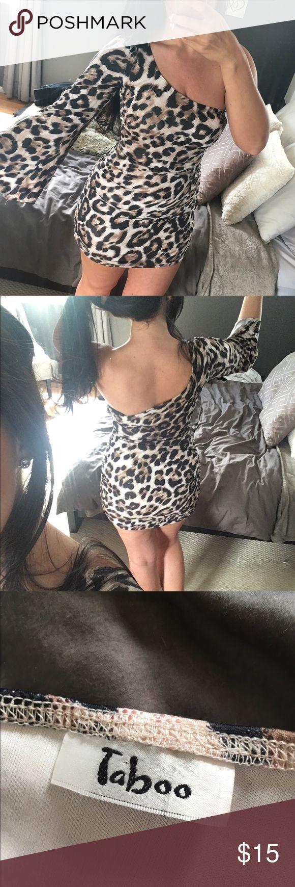 One shoulder leopard/cheetah print mini dress Brand new without tags. Super cute animal print mini dress with ruched sides and one sleeve. Bundle to save or make an offer! Taboo Dresses Mini