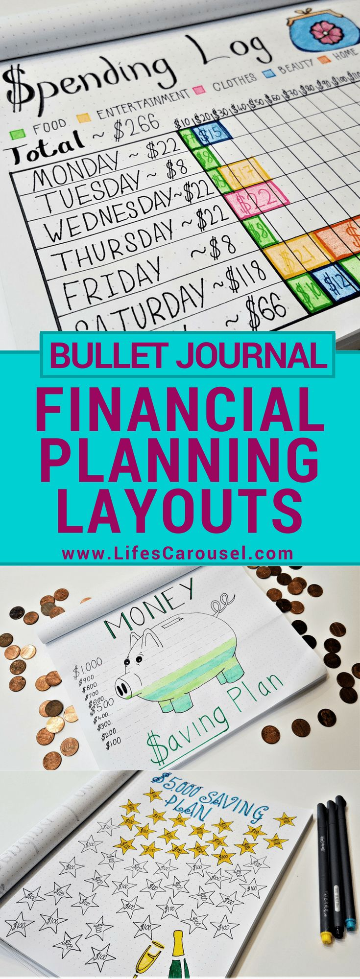 Bullet Journal Budget Tracker & More   Awesome ways to use your bullet journal as a savings tracker, money layouts, spending log spread and more. Get your finances in order with your Bujo!