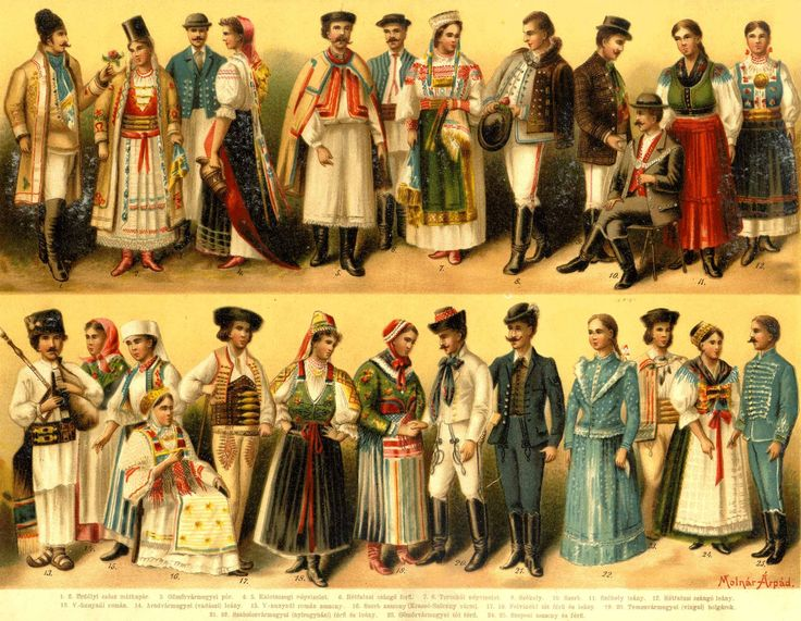 European folk costumes from Pallas Nagylexikona (Hungarian late 19th century encyclopedi)