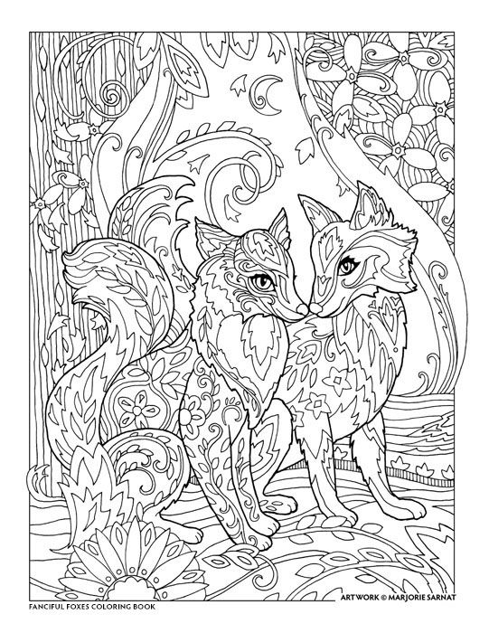 Creative haven fanciful foxes coloring book by marjorie sarnat together always adult coloring pagescoloring booksfox