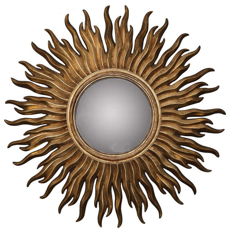 Convex Mirror with Gilded Resin Sunburst Frame | From a unique collection of antique and modern sunburst mirrors at http://www.1stdibs.com/furniture/mirrors/sunburst-mirrors/