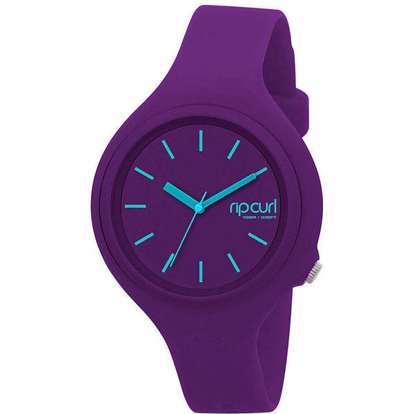 Rip Curl Aurora Watch ($75) ❤ liked on Polyvore featuring jewelry, watches, purple, rubber watches, womens watches, plastic watches, water proof watches, purple jewelry, rip curl watches and leather-strap watches