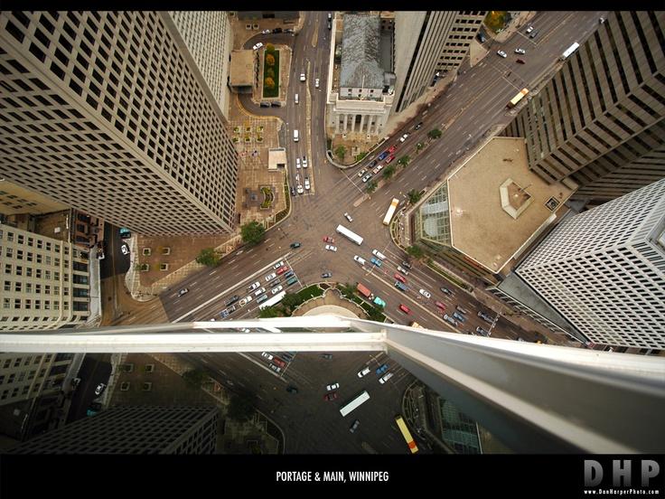 Portage Avenue and Main Street, aerial view.  Winnipeg