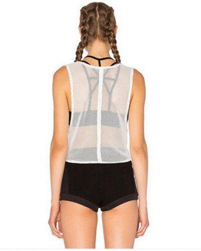 acbc4a1095a Transparent mesh tank top for women plain white short t shirts tie design