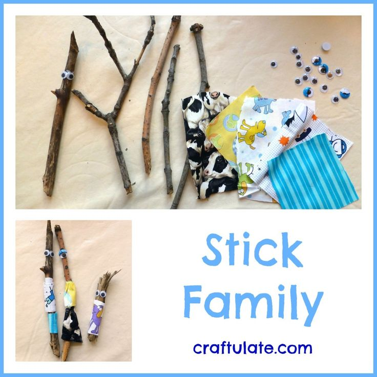 This stick family craft was made with sticks collected from the park, fabric scraps and googly eyes.