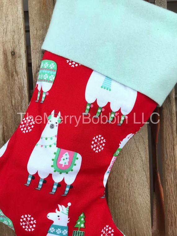 Llama Christmas Stocking.Christmas Stocking Personalized Christmas Stockings Llama