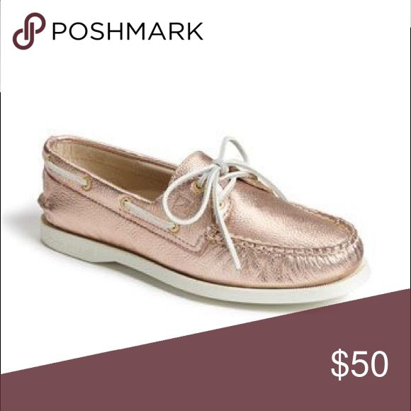 Sperry's Rose Gold Sperry's Color: Metallic Rose Gold / White Size: 7 Women  100% Authentic - Purchased at Nordstrom Worn but well taken care of. Sole is obviously dirty from wearing them outside but it will be cleaned and shows no damage Rose gold leather and laces show no wear at all No scuffs or stains, etc. Sperry Top-Sider Shoes Flats & Loafers