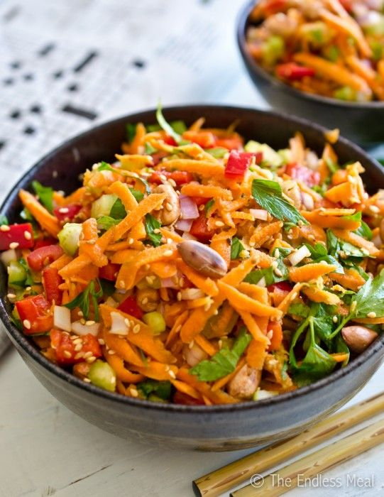 Healthy and Delicious Asian Salad by The Endless Meal- trying this for our work salad this week with some edemame and chicken added in.
