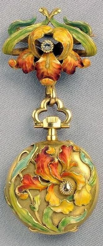 Art Nouveau 18kt Gold and Enamel Pendant Watch, L. Gallopin & Cie., the case and watch pin designed as irises with rose-cut diamond accents, the watch with white enamel dial and Arabic numeral indicators, jeweled movement, pin-set, case no. 44437, cuvette and movement signed L. Gallopin & Cie.