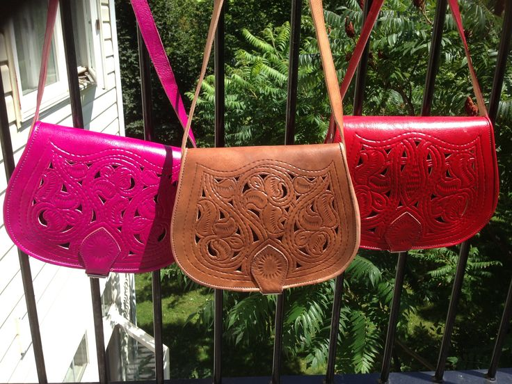 Stunning!  Our Leather & Lace Bags!  Handmade in Morocco Just for us!  #one1earth.com www.one1earth.com