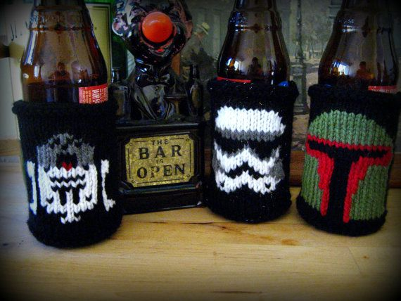 Set of Star Wars Themed Beer Coozies by knitatthebar on Etsy, $40.00