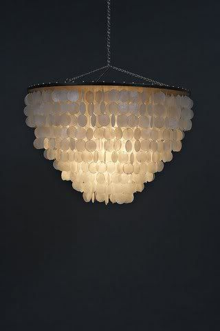 """Home › Search Results › exomod › lighting  EXPORT QUALITY MODERN capiz & wood 24"""" round reverse dome pendant design chandelier"""