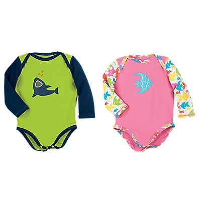 Sun Smarties Baby Rash Guard-Style Swimsuit  Extra UV coverage, just where babies need it most! Inspired by rash guards, our long-sleeved baby swimsuit shields delicate skin on the shoulders, arms, and back. With an overlapping neckline for easy on/off. UPF 50+.