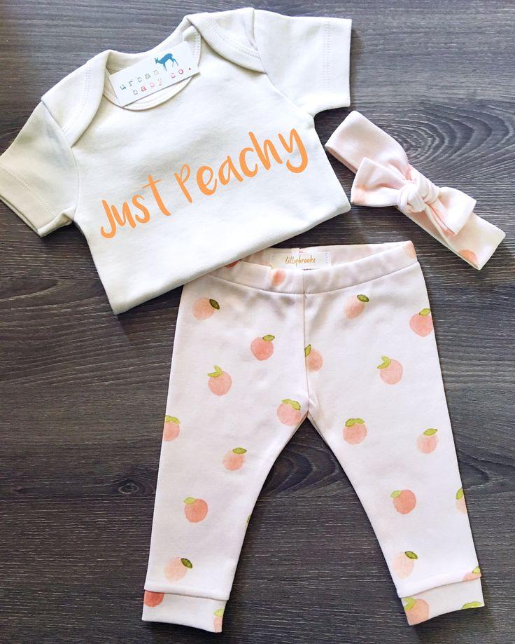 Organic Baby Girl, Onesie®, One Piece, Bodysuit, Leggings, Pants, Headband, Top Knot, Peaches, Peachy, Modern, Boho, Set, Bundle