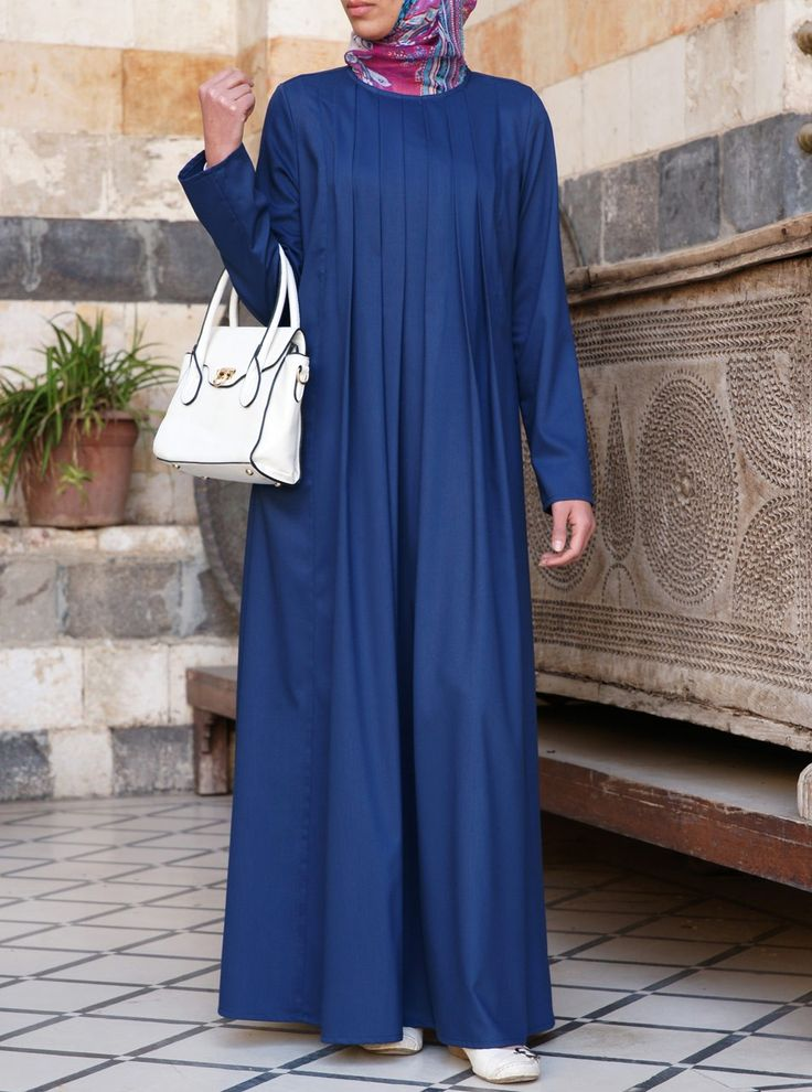 Long Pleated Abaya - Abayas & Dresses - Women