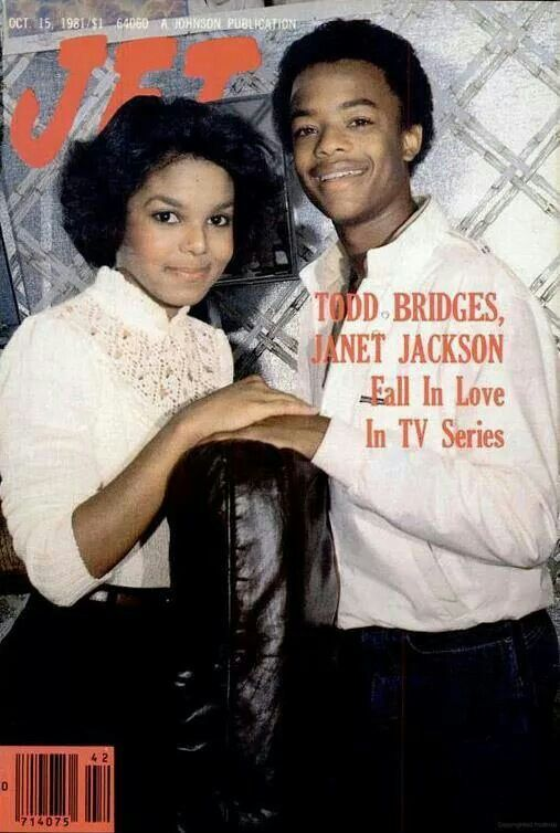 Todd Bridges and Janet Jackson on Jet magazine cover