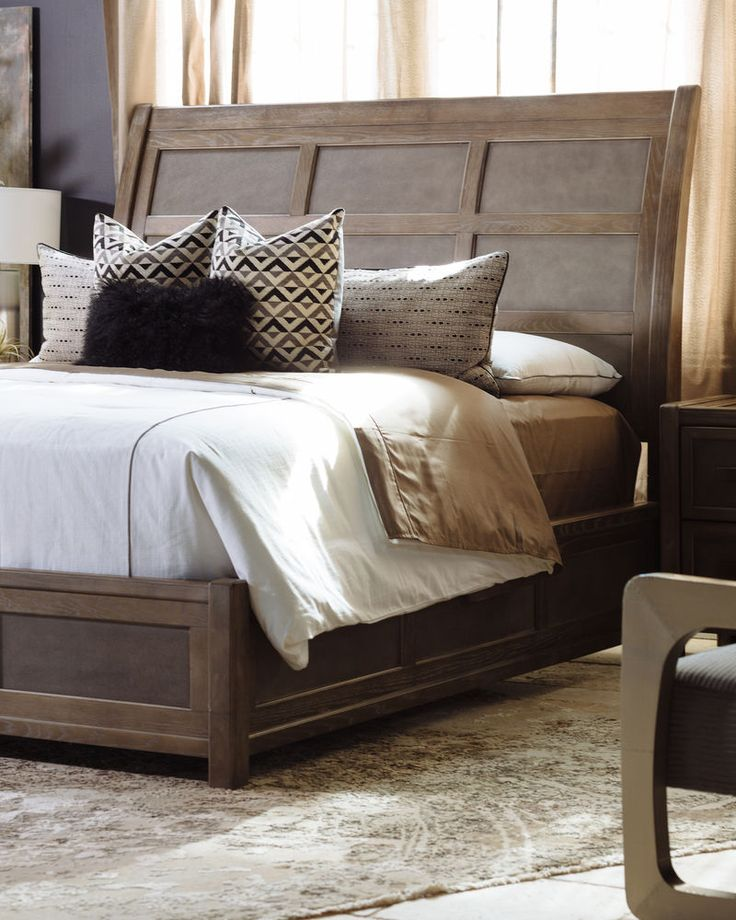 "66"" Paneled Modern Sleigh Bed in Brown"