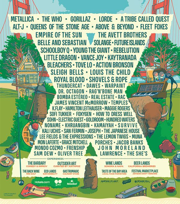 After weeks of anxious waiting, the lineup has been revealed for the 10th annual Outside Lands music festival. Headlining the event are heavy rockers Metallica, legendary classic rock band The Who, British virtual band Gorillaz, New Zealand songstress Lorde, and hip-hop group A Tribe Called...