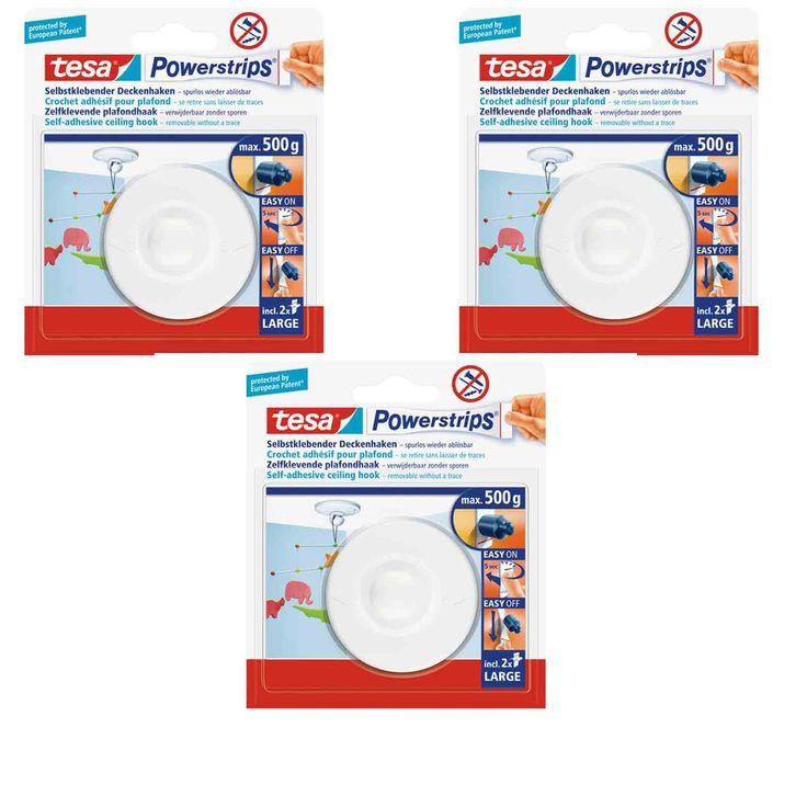 Tesa Powerstrips 3 x Deckenhaken weiß incl. je 2 Strips Large / zum Befestigen von Deco etc. an der Zimmerdecke: Amazon.de: Bürobedarf & Schreibwaren