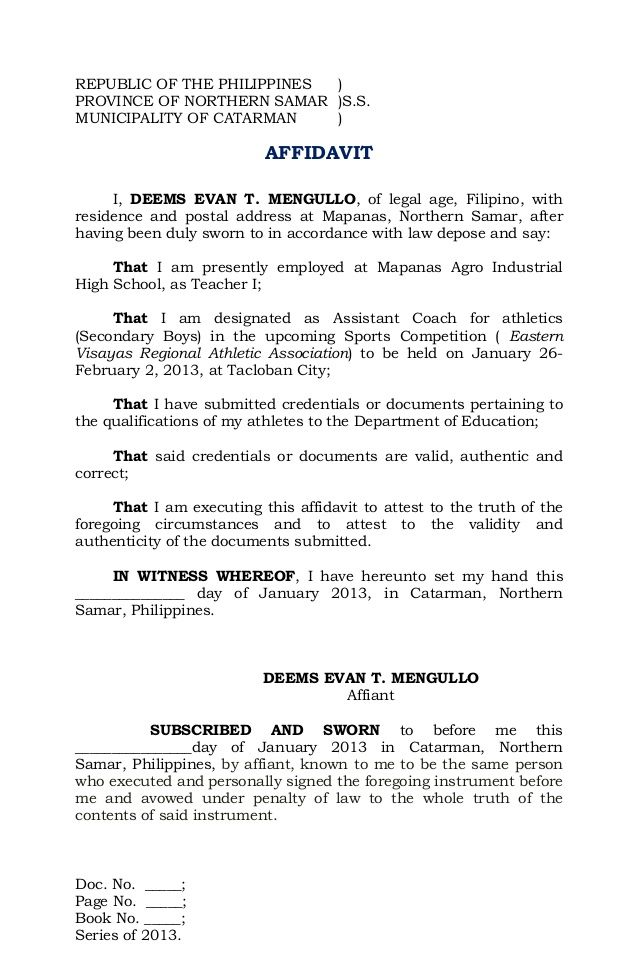 Image result for sample of affidavit in the Philippines