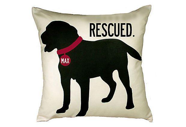 Black Lab Rescue 20x20 Pillow, Sand on OneKingsLane.com