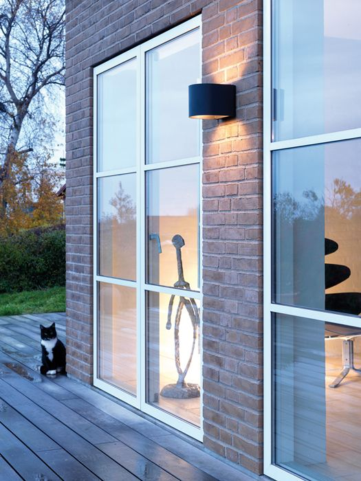 Black LightU outdoor wall lamp at private residence, Denmark