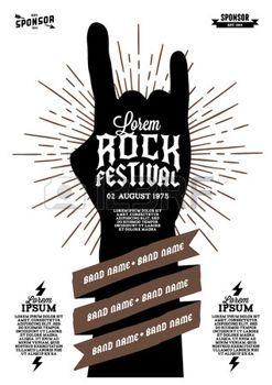 poster: hipster rock festival poster with hand ribbon lightning starburst Illustration
