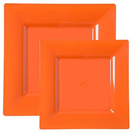 square orange plastic dinnerware value pack