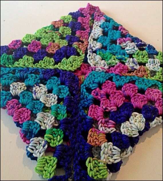 Multi-Color Crocheted Granny Square Baby Blanket on Etsy, $15.03