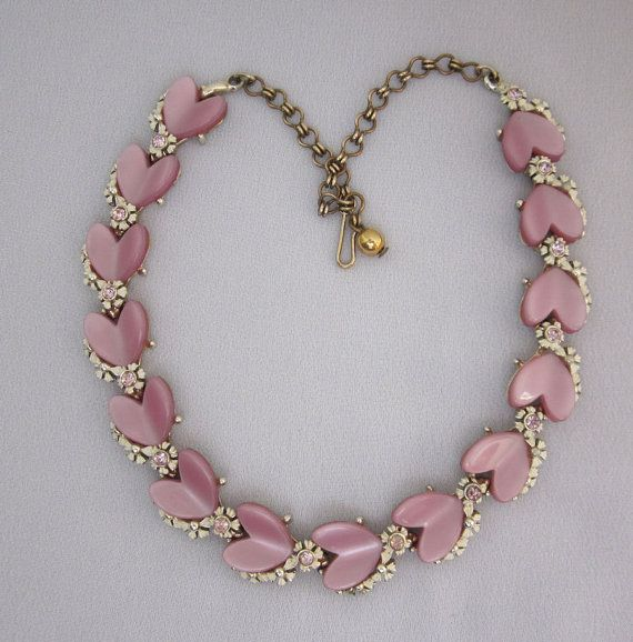 1950s BSK Rhinestone Necklace Pink Heart By Jryendesigns