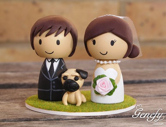 Cute wedding cake topper - Bride and Groom with pug