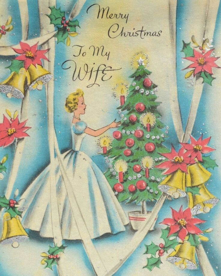 3697 best vintage greetings christmas images on pinterest merry christmas to my wife vintage christmas card m4hsunfo