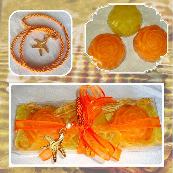 Fine Handmade Soaps Set Trendy Halloween Gift for her Orange