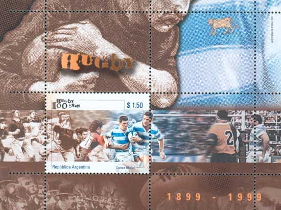 "Argentina 100 años de Rugby 1899 - 1999 (2) ""Rugby on Stamps"""