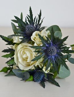 bridesmaid bouquet- English rose and Scottish thistle
